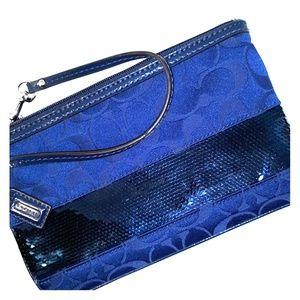 Beautiful  Blue Coach Sequin Stripe Large Wristlet